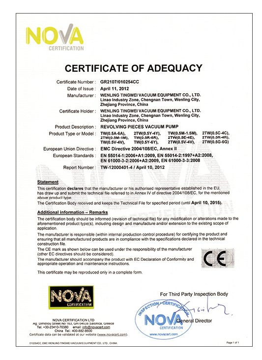 certificate of adequacy